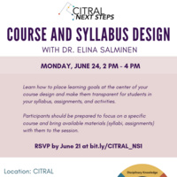 CITRAL Next Steps: Course and Syllabus Design