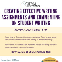 CITRAL Next Steps: Creating Effective Writing Assignments and Commenting on Student Writing