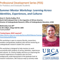 Summer Mentor Workshop: Learning Across Identities, Experiences, and Cultures