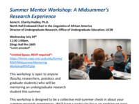Summer Mentor Workshop: A Midsummer's Research Experience