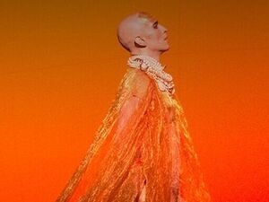 figure donning a long free flowing orange fabric while looking to the