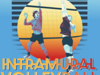 Intramural Volleyball. Two players attempt to strike the ball over the net in a highly stylized graphic.