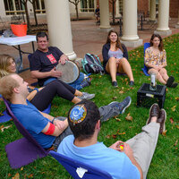 Hillel students meeting on the lawn
