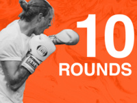 10 Rounds. A man who appears to be yelling, wearing boxing gloves and a t-shirt throwing a punch.