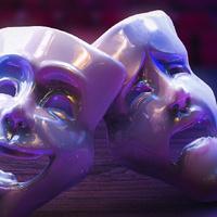 photo of theater masks.