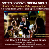 OPERA NIGHT AT SOTTO SOPRA - 5 COURSE DINNER & LIVE OPERA PERFORMANCES