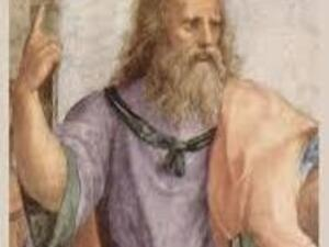 illustration of Plato holding a book in one hand and point his finger.