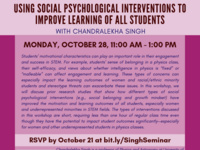 Using Social Psychological Interventions To Improve Learning of All Students