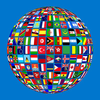 Globe of international flags