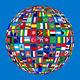 Globe of international flags