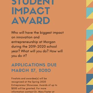 Application deadline for Innovation & Entrepreneurship Student Impact Award