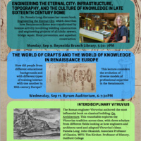 "Public Lecture -  ""Engineering the Eternal City: Infrastructure, Topography, and the Culture of Knowledge in Sixteenth Century Rome"" by Dr. Long"