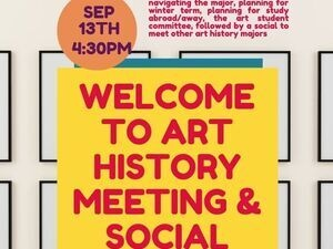 poster with red letters stating welcome art history meeting and social.