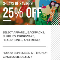 25% OFF Sale- 3 Days of Savings!