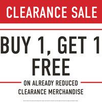 Buy One Get One FREE on All Already Reduced Clearance