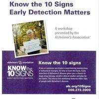 """Alzlheimer's  - Know the 10 Signs"""