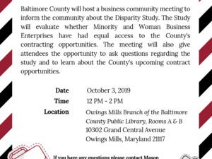 Baltimore County Disparity Study Community Meeting