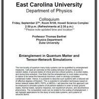 Physics Colloquium on September 27th!- Professor Thomas Barthel (Cancelled-Postponed to a later date)