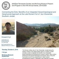 "AIA/ETS Lecture - Howard Cyr, ""Connecting the Dots: Benefits of an Integrated Geoarchaeological and Geophysical Approach at the Late Roman Fort of `Ayn Gharandal, Southern Jordan"""