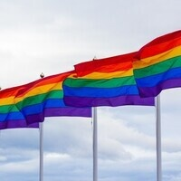 A picture of four LGBT pride flags.
