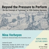 Lecture by Nina Verheyen: Beyond the pressure to perform (USC Max Kade Institute)