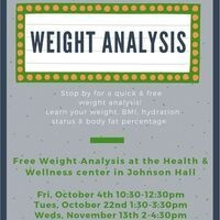 Weight Analysis Fri, Oct 4th 10:30-12:30pm | Dining Services