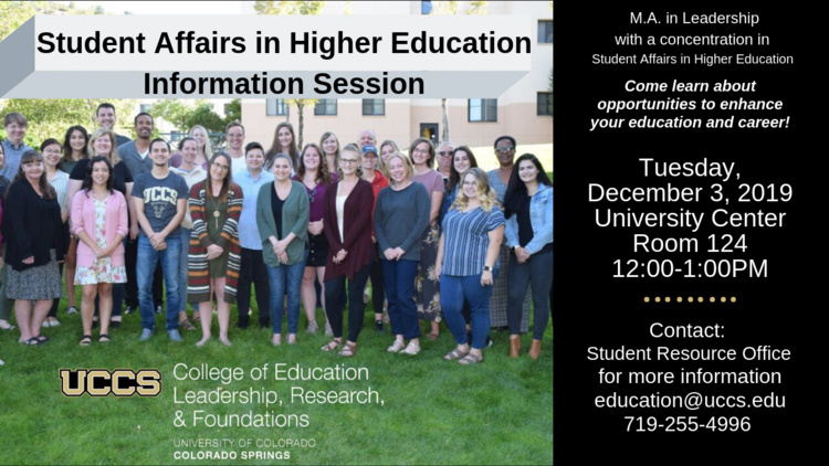 Student Affairs in Higher Education Information Session