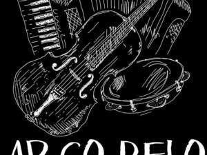 White on black sketch of instruments and Arco Belo logo