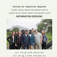 Global Social Impact Fellowship (GSIF) and Lehigh Valley Social Impact Fellowship (LVSIF) Information Sessions