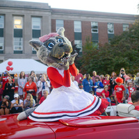 Ms. Wuf at the Red and White Week Parade.