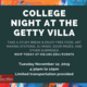 College Night at The Getty Villa