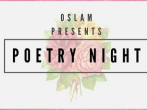 pink and white flyer announcing poetry night
