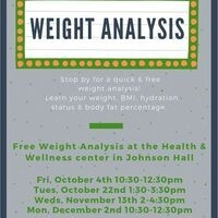 Weight Analysis Tues, Oct 22 1:30-3:30pm