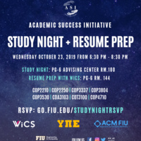 The Academic Success Initiative Study Night and Resume