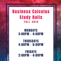 Business Calculus Study Halls (FALL 2019)