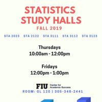 Statistics Study Halls (FALL 2019)