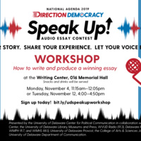 Tuesday,November 12th Workshop: Writing and Producing an Audio Essay