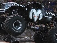 I-10 Chrysler Dodge Jeep Ram Lets Monster Truck on the loose in Indio, CA!