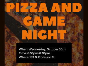 Flyer for Pizza and Game Night
