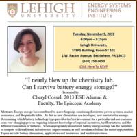 "Energy Systems Engineering Seminar Series: ""ENERGY STORAGE"""