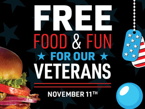 Main Event Salutes Military with Free Food & Fun on Veterans Day!