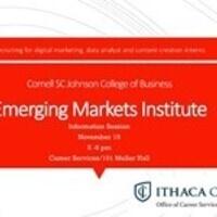 Emerging Markets Institute, Cornell SC Johnson College of Business