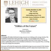 "Energy Systems Engineering Seminar Series: ""Utilities of the Future"""