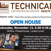 Technical Entrepreneurship OPEN HOUSE