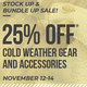 3-Day Sale! 25% off Cold Weather Gear and Accessories!