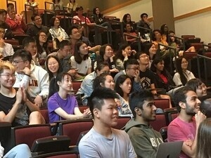 International Students of Oberlin gathered in an auditorium.