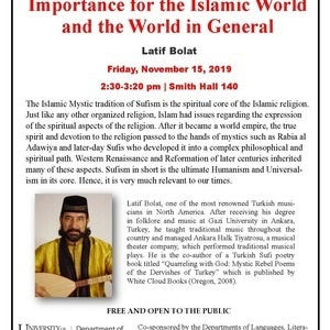 Talk by Sufi Musician Latif Bolat: Mystical Islam and its Historical Importance for the Islamic World and the World in General