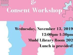 Trans Identity & Consent Workshop poster with silhouettes of pink blue and white faces.