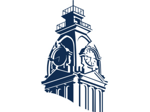 Hillsdale College Clock Tower Logo, Blue