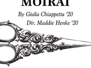 Moirai poster showing a pair of scissors